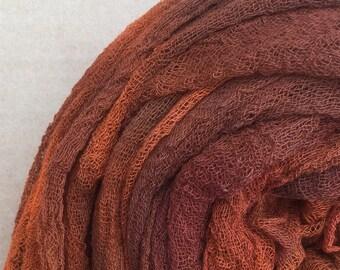 Hand dyed Cotton Scrim, Gauze, Art Cloth, Scarf for nuno felting, Art and Mixed Media projects, Burnt Orange, Orange, Terra Cotta