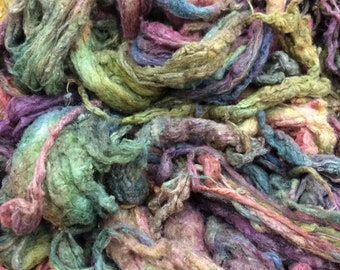 Hand Dyed Silk Noil, No.15 Sludgy Green, Mulberry Silk Fibres, Spinning
