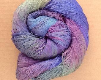 Hand Dyed Silk Yarn, Spun Silk Yarn, Weaving, Lace Knitting,  Lacemaking, 60/2 weight, No.57 Oil Slick, 888