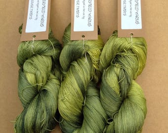 Silk Laceweight Yarn, Hand Dyed Mulberry Silk Yarn, Crochet, Weaving, Colour No.82 Chartreuse