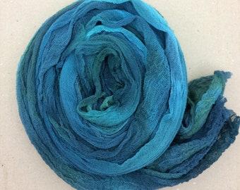 Hand dyed Cotton Scrim, Smokey Teal, Gauze, Art Cloth, Scarf for nuno felting, Art and Mixed Media projects