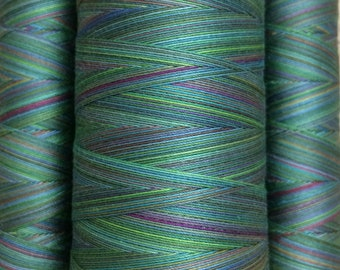 Multicoloured, Hand Dyed Cotton Machine Quilting or Embroidery Thread, Eygyptian Cotton 40wt., 150m (162yds) or 750m (820yds) Ref. SM09