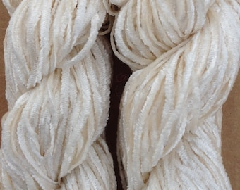 Silk Chenille, Silk Yarn, Weaving Yarn, Crochet Yarn, Natural, Undyed, Ivory,