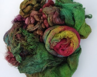 Silk Pick and Mix Green Selection, Hand Dyed Silk Fibres, Silk Tops, Laps, Throwsters Waste, Cocoons, Carrier Rods, Hankies
