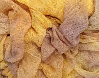 Hand Dyed Cotton Scrim, Muslin, Gauze, Scarf for Nuno Felting, Buttermilk, Pastel golds, yellows and browns