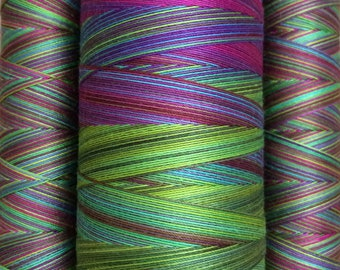 Hand Dyed Cotton Machine Quilting or Embroidery Thread, Eygyptian Cotton 40wt., 150m (162yds) or 750m (820yds), Multicoloured, Ref.SM05