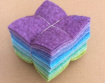 Felt Tower, 24 pieces of Hand Dyed Wool and Viscose Felt, Lilac, Turquoise, Green
