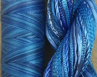 Hand Dyed Embroidery Thread, Hand Dyed Quilting Thread, Two of a Kind, No.03 Sky, Art Threads, Embellishments, Scrapbooking, Blue