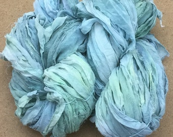 Sari Silk Chiffon Ribbon Hand Dyed, Silk Ribbon, Wide Silk Ribbon, Silk Chiffon Ribbon, Colour Aquamarine and Pale Green, 16