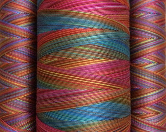 Multicoloured, Hand Dyed Cotton Machine Quilting Thread, Machine Embroidery Thread, 40wt. 150m (162yds) or 750m (820yds) Ref.SM01