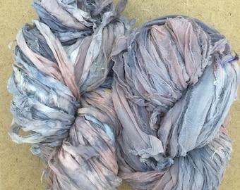 Sari Silk Chiffon Ribbon Hand Dyed, Silk Ribbon, Wide Silk Ribbon, Silk Chiffon Ribbon, Colour Grey, Dusky Pink, Sage Green, Lemon, Ref.21