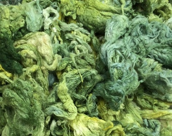 Hand Dyed Silk Noil, Light Chartreuse, Mulberry Silk Fibres, Spinning