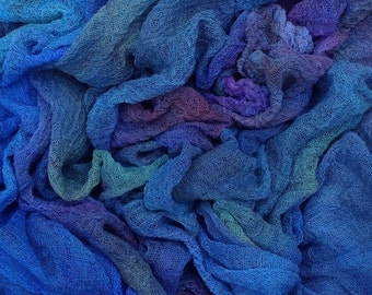 Hand dyed Cotton Scrim, Gauze, Art Cloth, Scarf for nuno felting, Art and Mixed Media projects, Colour No. 57 Oil Slick - Electric Blue