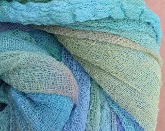 Hand Dyed Cotton Scrim, 6 metre length, Openweave, Cotton Gauze, Table Runner, Photography Prop, Nuno Felting, Colour No.39 Pistachio