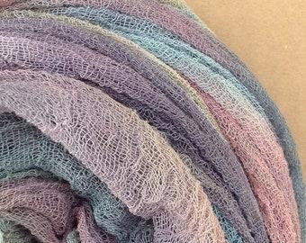 Hand Dyed Cotton Scrim, 6 metre length, Openweave Fabric, Cotton Gauze, Table Runner, Photography Prop, Nuno Felting,  Colour No.87 Grape