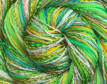 Lime Green Happy Bag, Mixed Thread Selection, Hand Dyed Cotton Threads, Viscose Threads, Pack colour choices across the spectrum