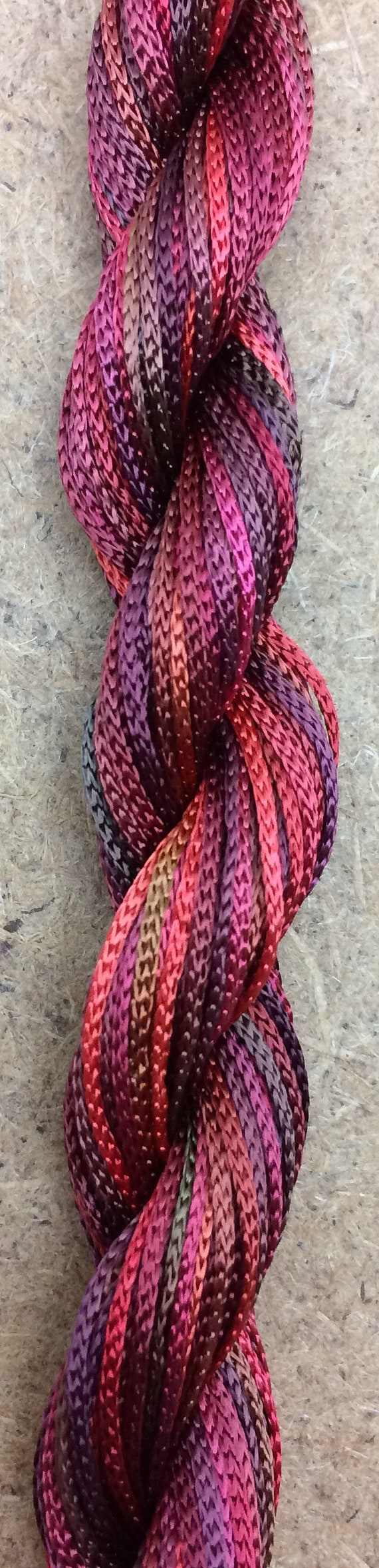 25 metres Viscose Chainette 4167 Hand Dyed Thread Rayon Ribbon Colour No.12 Terra Cotta