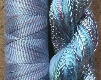 Two of a Kind, No.80 Sky Blue Pink - Hand Dyed Cotton and Viscose Thread Selection plus Cotton Machine Thread in a combination Pack