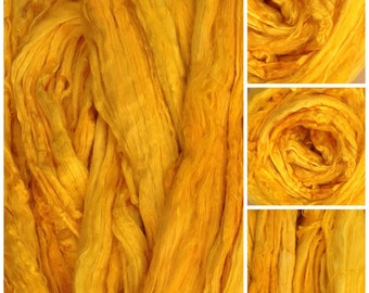 Hand Dyed A1 Grade Mulberry Silk Brick, hand Dyed Silk Tops, Luxury Silk Roving, Spinning Fibre, No.51 Daffodil