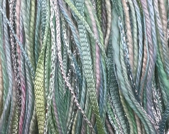 Aquamarine, One Off Special, Limited Edition, Hand Dyed Embroidery Thread, Textured Threads, Variegated Threads