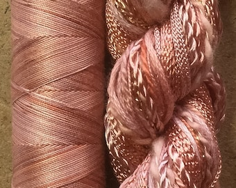 Hand Dyed Thread Selection, Two of a Kind, No.43 Peach, Hand Dyed Embroidery Thread, Hand Dyed Quilting Thread, Textile Art, Scrapbooking