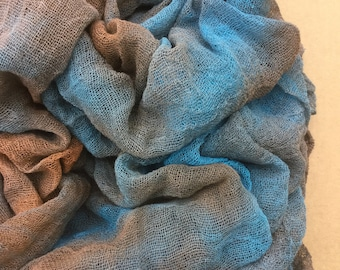 Cotton Scrim, Hand Dyed Gauze, Openweave Fabric, Dyed Butter Muslin, Nuno felting, UK Seller, Colour No.21 Rust