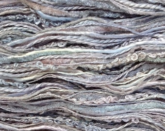 Hand Dyed Silk Thread Selection, Silk One Off  No. 56 Pebble, Mulberry Silk, Textured Silk, Boucle, Chenille, Bourette, Noil, Grey Tones