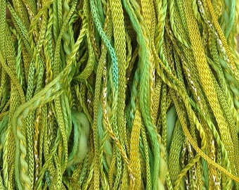 One Off, No.50 Lime and Lemon, Hand Dyed Cotton and Viscose Thread Selection