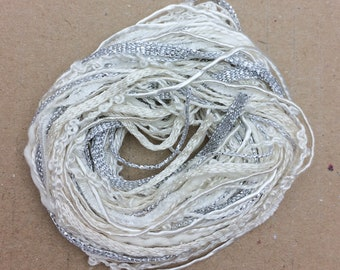 Tidbits, White and Silver, Hand Dyed Embroidery Threads, Creative Embrodery