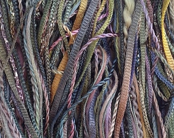 Hand Dyed Embroidery Thread Selection, One Off, No.15 Sludgy Green, Cotton and Viscose Threads, 40m (43yds)