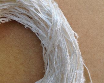 Mulberry Silk String, Thin Silk String, Natural Silk Yarn, Weaving, Knitting, Mixed Media, Crochet, 59g (2.1 ounces)