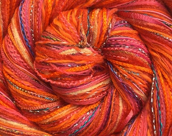 Orange Happy Bag, Mixed Thread Selection, Hand Dyed Cotton Threads, Viscose Threads, Pack colour choices across the spectrum