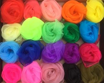 Nylon Squares, 20 Colours, Nuno Felting, Nylon Scarf, Accessory, 20 colours available plus white