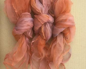 Nylon Squares, Hand Dyed, Variegated, Nuno Felting, Nylon Scarf,  Accessory, Colour Dusky Peach variegated