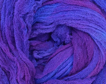 Hand Dyed Cotton Scrim, 6 metre length, Openweave Fabric, Cotton Gauze, Table Runner, Photography Prop, Nuno Felting,  Colour No.05 Violet
