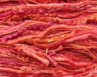 Hand Dyed Silk Thread Selection, Textured Silk Threads, Silk One Off  No.13 - Sunset, Embroidery, Textile Art, Mixed Media, Scrapbooking
