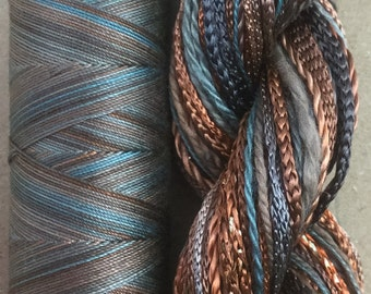 Embroidery Thread Selection, Hand Dyed, Two of a Kind, No.21 Rust - Hand Dyed Cotton and Viscose Thread Selection plus Machine Cotton