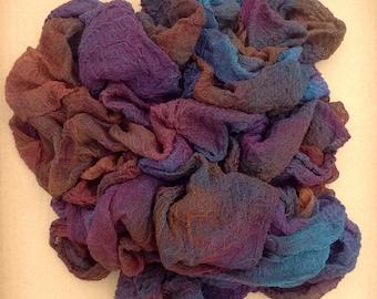 Hand Dyed Cotton Scrim, 6 metre length, Openweave, Cotton Gauze, Table Runner, Photography Prop, Nuno Felting,  Colour No.19 Black Cherry