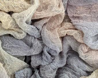 "Hand Dyed Cotton Scrim, Openweave Fabric, Cotton Cauze, Scarf length for Nuno Felting,  Colour No.56 Pebble - Grey Tones  2m (78"")"