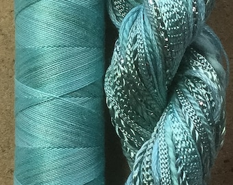 Hand Dyed Embroidery Thread, Hand Dyed Quilting Thread, Two of a Kind, No.33 Aquamarine, Creative Embroidery, Textile Art, British Seller