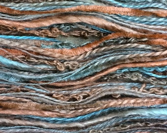 Hand Dyed Silk Thread Selection, Silk One Off  No.21 Rust, Mulberry Silk, Textured Silk, Boucle, Chenille, Bourette, Noil