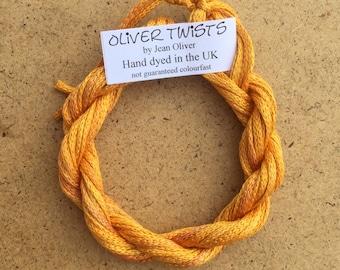 Silk Chainette No.07 Yellow Ochre, Hand Dyed Embroidery Thread, Artisan Thread, Textile Art, No.07 Yellow Ochre