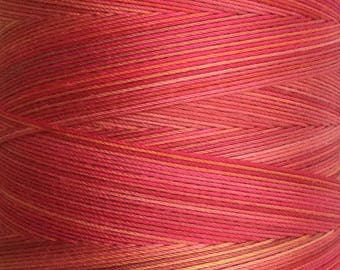 Hand Dyed Cotton Machine Quilting Thread, Machine Embroidery Thread,  Eygyptian Cotton 40 weight, 750m (820yds) Colour No.13 Sunset