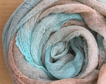 Cotton Scrim, No.89 Patina, Hand Dyed Gauze, Openweave Fabric, Dyed Butter Muslin, Nuno felting, UK Seller