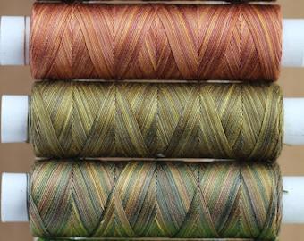 Hand Dyed Cotton Machine Embroidery Thread,  Machine Quilting Thread, Tatting, Crochet, Creative Embroidery, Machine Quilting, Earth