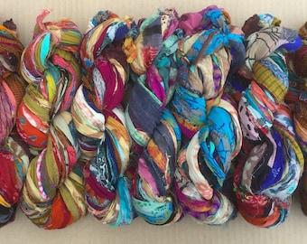 Sari Silk Chiffons printed colours, Variegated Sari Chiffon,  Silk Ribbon , Wide Silk Ribbon, Colour - Multicoloured