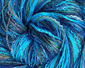 Turquoise Happy Bag, Mixed Thread Selection, Hand Dyed Cotton Threads, Viscose Threads, Pack colour choices across the spectrum