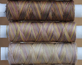 Chocolate Tones, Hand Dyed Egyptian Cotton Machine Thread, Hand Dyed Cotton Quilting Thread,