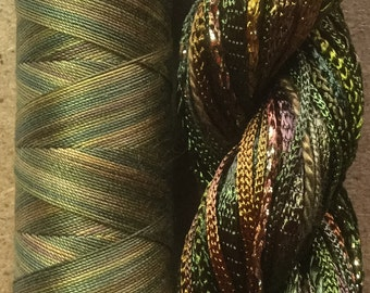Two of a Kind, No.15 Sludgy Green - Hand Dyed Cotton and Viscose Thread Selection plus Cotton Machine Thread in a combination Pack