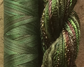 Hand Dyed Embroidery Threads, Two of a Kind, No.54 Moss, Hand Dyed Quilting Thread, Cotton and Viscose Thread Selection, Embroidery